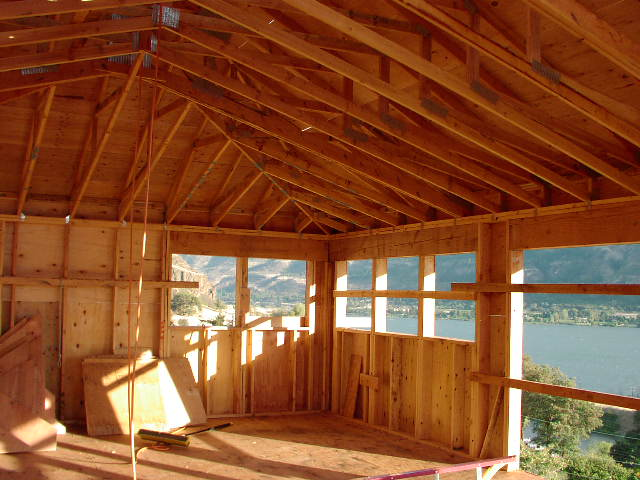 The gorge house roof for Vaulted ceiling trusses